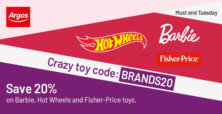 20% Off Barbie, Fisher-Price and Hot Wheels - Argos Money Off Vouchers for Toys and Games